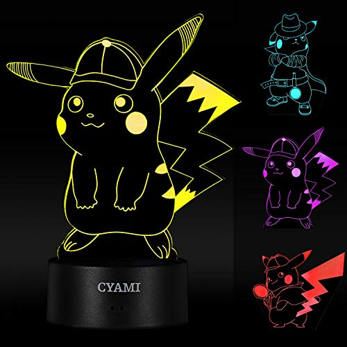 3D Illusion Pikachu Night Lights for Kids, 3 Pattern and 7 Color Change Night Light - Birthday Gifts and Xmas Gifts for Boys Girls Baby