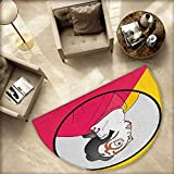 Kabuki Mask Semicircular Cushion Artist with Mask Actor Portrait in a Circle with Vibrant Colors Entry Door Mat H 78.7'' xD 118.1'' Hot Pink Yellow Black