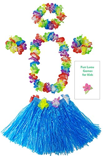 Kids Grass Hula Skirt for Luau 5 Piece Set with Flower lei Necklace Bracelets Headpiece + Fun Games (Blue) -