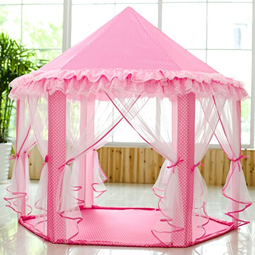 Side Party Tent Pole Frame (SkyeyArc Princess Playhouse With Lace, Kids Play Tent, Pink Play Castle, Play Doll House, Great Christmas Gifts for Kids, Christmas decorations,)