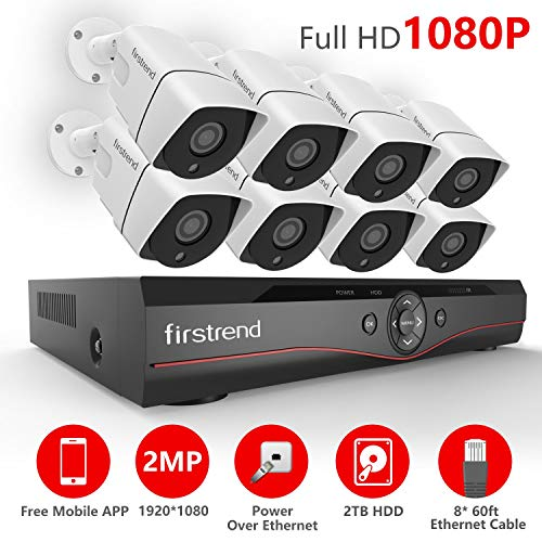POE Security Camera Systems,Firstrend Security Camera System POE with 8pcs 1080P Security Cameras P2P POE Home Security Camera System with 2TB Hard Drive Installed Easy Setup Free APP