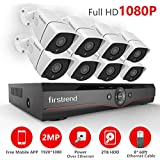POE Security Camera Systems, Firstrend Security Camera System POE with 8pcs 1080P Security Cameras, P2P POE Home Security Camera System with 2TB Hard Drive Pre-Installed, Easy to Setup, Free App