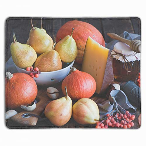 (Vegetables Fruit Pears Pumpkins Honey Cheese Mouse Pad,Gorgeous Color Printed Mousepad Non Slip Rubber Mouse pad Gaming Mouse Pad)