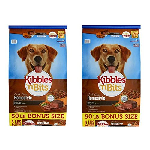 Kibbles 'n Bits 50 lb Homestyle Grilled Beef & Vegetable Flavors Dry Dog Food, Large (2 pack)