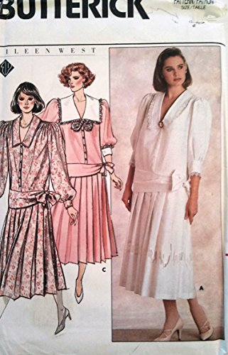 Butterick 3617 Sewing Pattern for Eileen West Designer Portrait Collar, Drop Waist Attached Sash Gathered Sleeve Crowns & Yoke, Button Bodice, Attached Pleated Skirt, 1020's Style Dress