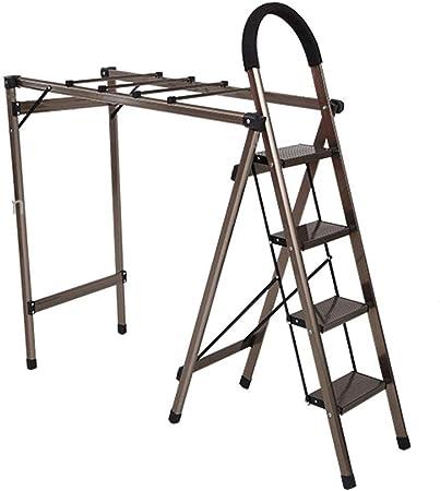DZWSD Escalera de casa 2 en 1, Tendedero Escalera 4 peldaños Aleación de Aluminio Multifuncional Tendedero -L160cm X W37cm X H112cm, Peso del rodamiento 150kg: Amazon.es: Hogar