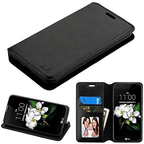 Case+Stylus PU Leather Fits LG Zone 4/K8 (2018)/ SP200 (Tribute Dynasty)/X210 (Aristo 2) MYBAT MyJacket Book-Style Wallet - Black