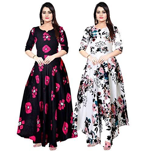 Khushi Print Women's Maxi Dress (ComboFR_9218_Navy Blue_Free Size)