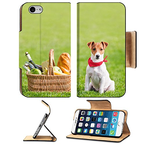 Luxlady Premium Apple iPhone 6 iPhone 6S Flip Pu Leather Wallet Case IMAGE ID: 18181600 picnic basket on green lawn