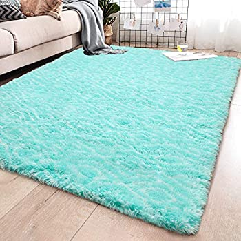 YJ.GWL Soft Indoor Large Modern Area Rugs Shaggy Patterned Fluffy Carpets Suitable for Living Room and Bedroom Nursery Rugs Home Decor Rugs for Christmas and Thanksgiving 5'x8' Teal Trellis