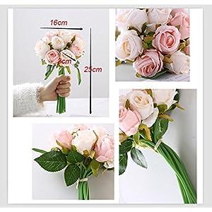 12PCS/Lots Artificial Rose Flowers Wedding Bouquet Royal Rose Silk Flowers For Home Decoration Wedding Party Decor 4