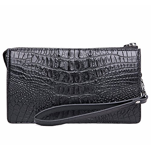 Skin With Clutch Genuine Business Wrist Zipper Men head Crocodile Bag Black Leather Bag gScBAw