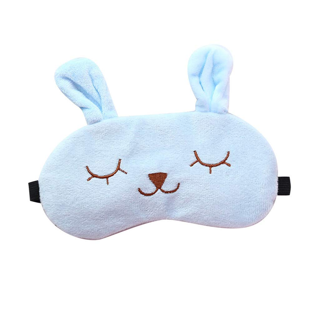 Saying Cute Cartoon Eyes-Closed Rabbit Sleep Eye Mask Padded Shade Cover Travel Relax Aid Soft Comfort Blindfold Great for Travel, Shift Work, Meditation for Women Girls (Blue)