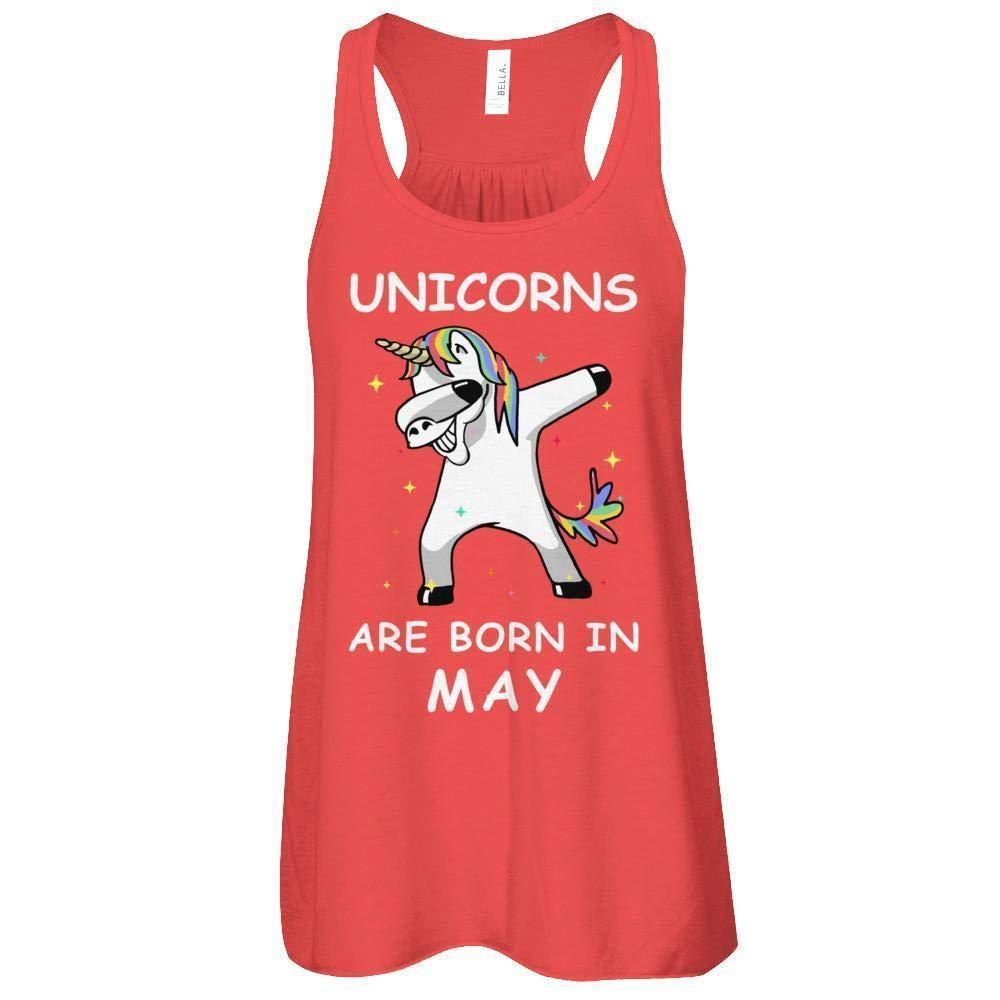 Unicorns Are Born In May Cute Dabbing Shirt Flowy Racerback Tank Top 3397
