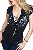Demi Loon Sexy Women's Gothic Biker Tee Shirt | Graphic Angel Wings Corset T-Shirt Goth Top