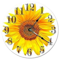 Sugar Vine Art YELLOW SUNFLOWER Clock Large 10.5 Wall Clock Decorative Round Circle Clock Home Decor Novelty Clock FLOWER