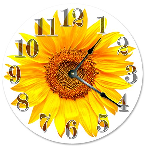 YELLOW SUNFLOWER Clock Large 10.5