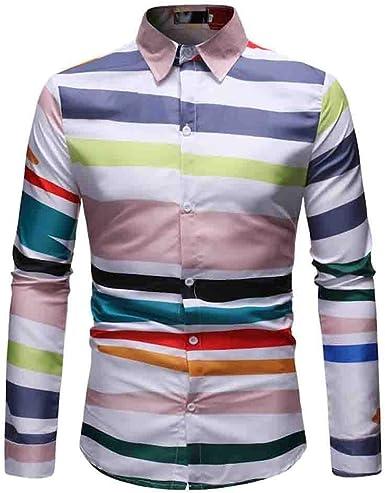 YEBIRAL Polos Manga Larga Hombre Impresión de Vistoso Raya con Botones Slim Fit Camisetas Hombre Originales Basicas Tops Blusa Camisas(M, Blanco): Amazon.es: Ropa y accesorios