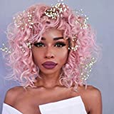 Short Pink Curly Synthetic Hair Wigs with Bangs for Women Andromeda Womens Cheap Afro Kinky Curly Heat Resistant Fiber Hair Wigs for African American Black Women Costume Cosplay Wigs(Pink)