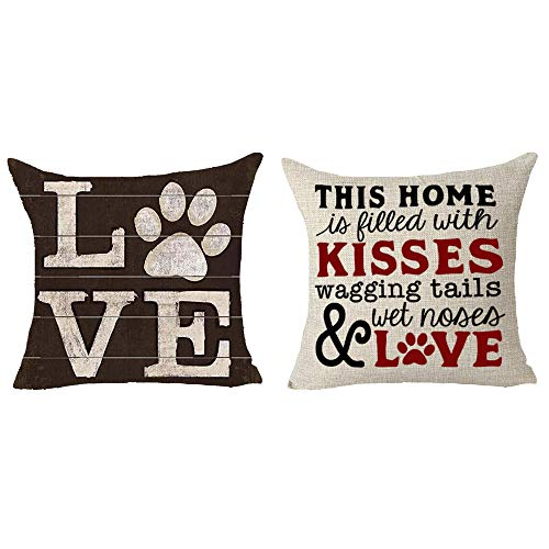 Queen's designer 2 Piece Set Saying This Home is Filled with Kisses Wagging Tails Wet Noses and Love Dog Claw Animal Cotton Linen Decorative Throw