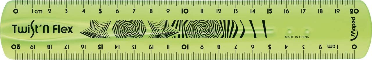 divertente e infrangibile doppia graduazione Maped Twistn Flex 20 cm colore: Verde Righello piatto flessibile