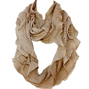 Elegant Soft Woven Infinity Loop Figure Eight Endless Scarf Wrap By Silver Fever Brand (Khaki/5735)
