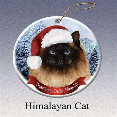 Holiday Porcelain - Holiday Pet Gifts Himalayan Cat Santa Hat Cat Porcelain Christmas Tree Ornament