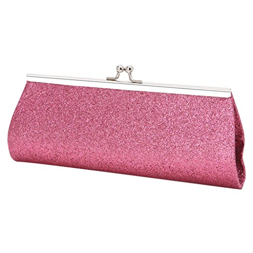 Best-topshop Giltter Handbag for Women Girls, Metal Chain Coin Phone Bag for Wedding Shopping Date Evening Cocktail Party School Outdoor (Pink)