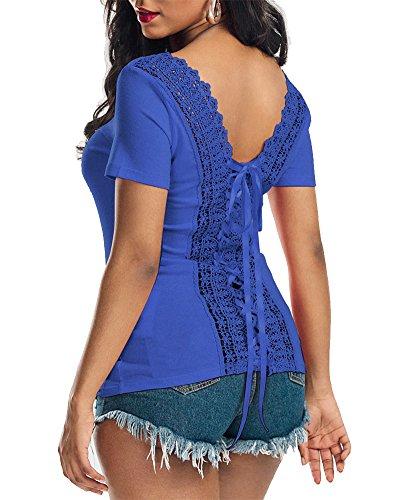 ZhuiKun Blusa Camiseta Casual Elegante Verano Playa Cordón Mangas Cortas para Mujer: Amazon.es: Ropa y accesorios