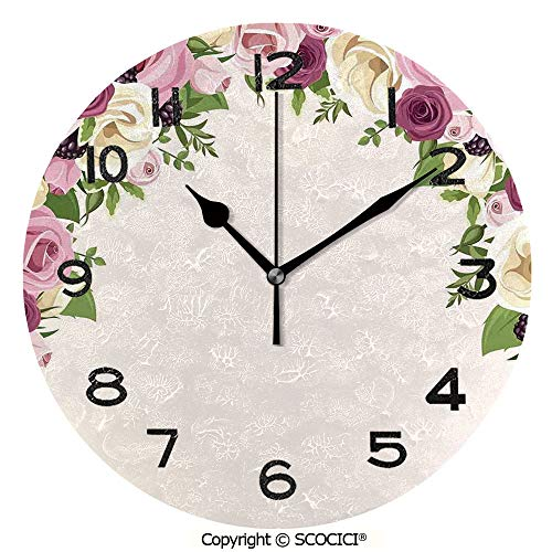 SCOCICI 10 inch Round Clock Roses and Lisianthus Berries Arch Decoration Marriage Gatherings Artistic Design Unique Wall Clock-for Living Room, Bedroom or Kitchen Use ()