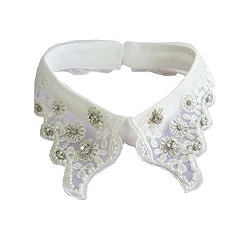 Blusa desmontable de cuello falso de moda para mujer / elegante con diamantes de imitación -