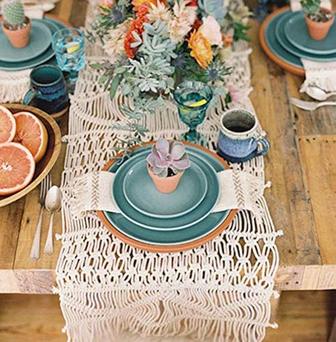 "Flber Macrame Table Runners Handwoven Boho Wedding Table Decoration Bedding Blanket,13.8""x 94"" (13.8""x 118"")"