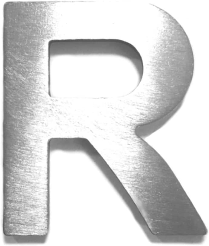"""Hausnummer Wandbeschilderung Metall-Buchstabe /""""R/"""" aus geb/ürstetem Edelstahl rostfrei und selbstklebend ohne bohren Zimmerbeschriftung B/ürobeschriftung T/ürsymbol H/öhe 4cm"""