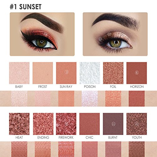 Yiwa 12 Color Eyeshadow Plate Pearlescent Matte Eye Shadow FA50, Waterproof Eyeshadow No Fly and No Faint