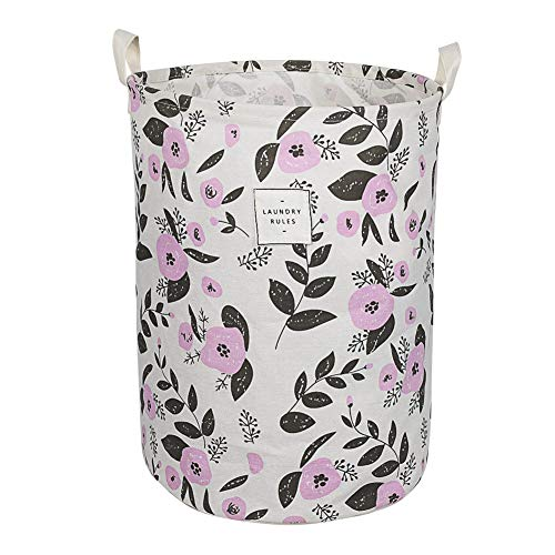 UUJOLY Collapsible Laundry Basket, Laundry Hamper with Handles Waterproof Round Cotton Linen Laundry Hamper Printing Household Organizer Basket, 13.8x17.7 inches, Purple (Hamper Purple)