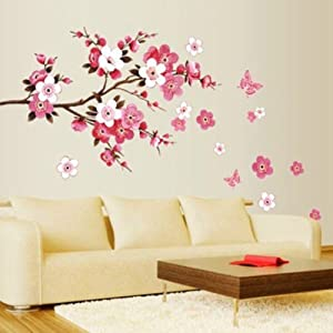 Peach Cheery Blossom Plum Flower Butterfly Floral Wall Sticker Decal Decor  Removable Wallpaper Home Vinyl Hot Red Tree Branch For Living Room Bedroom  (A 71) Part 41