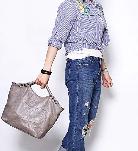Genuine Body Bag Large Shoulder Designer Cross Leather Tote Handbag Bag Hobo Grey Iswee Purse fw6qpxp