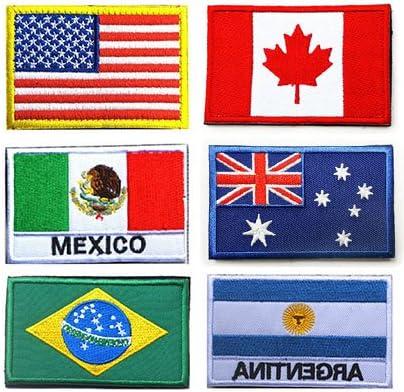 Bandera nacional de velcro parches, Towee 6 Pack nosotros bandera/bandera de Canadá/México bandera/Australia bandera/bandera de Brasil/Argentina Bandera Militar bordado frontera moral Velcro parches: Amazon.es: Juguetes y juegos