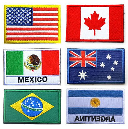 National Flag Patches, TOWEE 6 Pack US Flag/Canada Flag/Mexico Flag/Australia Flag/Brazil Flag/Argentina Flag Military Embroidered Border Morale ()