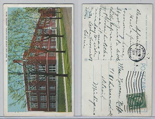 Postcard, Michigan, East Side Junior High School, Lansing, 1924