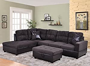 Amazoncom beverly furniture 3 piece microfiber and faux for Microfiber faux leather 3 piece sectional sofa set