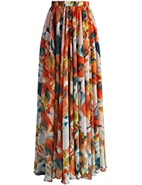 Women's Blossom Floral Chiffon Maxi Long Skirt