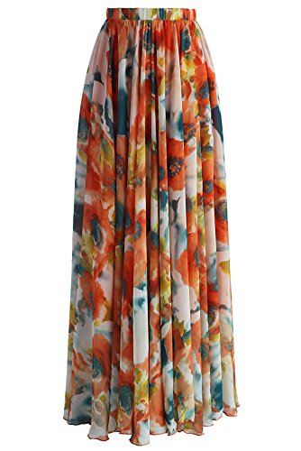 Chiffon Velvet Skirt - Pretchic Women's Blossom Floral Print Chiffon African Maxi Long Skirt Orange Medium