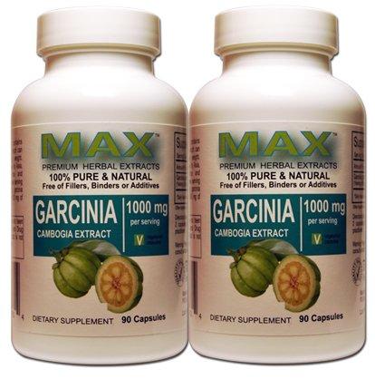 Max Extrait de Garcinia Cambogia 1000 mg par portion (Twin Pack) - 50% HCA - 100% pures 90 capsules par bouteille