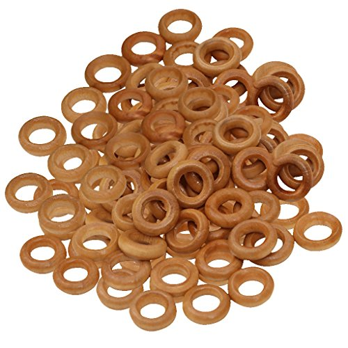 MonkeyJack 100pcs 13mm Small Wooden Rings Unfinished Wood Toss Rings Hoops DIY -