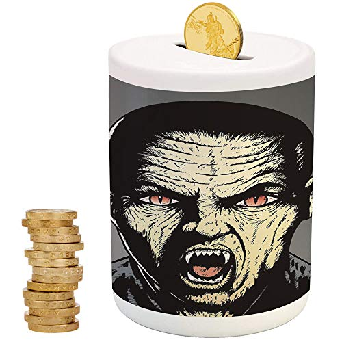 iPrint Vampire,Ceramic Child Bank,for Party Decor Girls Kid's Children Adults Birthday Gifts,Angry Scary Male Vampire Bloodthirsty Hungry Demon Ears Zombie Fangs Biting Decorative