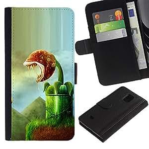 KLONGSHOP / Tirón de la caja Cartera de cuero con ranuras para tarjetas - Monster Plant Green Nature Rainforest Art - Samsung Galaxy S5 Mini, SM-G800, NOT S5 REGULAR!
