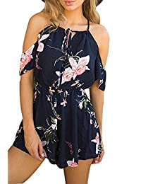 973b040ce49 NANYUAYA Women s Summer Bohemian Off Shoulder Floral Print Short Romper  Jumpsuit