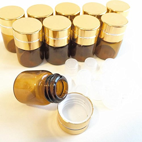 1ml (1/4 dram) Mini Amber Glass Refillable Sample Vial Bottles with Plug Stopper and Gold Cap for Essential Oils, Colognes & Perfumes, Includes FREE eBOOK of Essential Oil Mini-Blends (10 Pack)