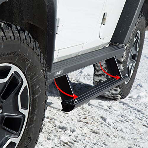 - ARIES 3036571 ActionTrac Truck Powered Running Boards with Retractable, Electric Side Steps Black 65-Inch Fits Jeep Wrangler JL